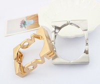 Wholesale New Women Gothic Punk Hot Lady Silver Gold Metal Love Rectangle Bracelet Cuff Bangle Women Jewelry CY1