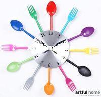 big kitchen clocks - Big size New design wall clock Knife Fork Spoon Originality clock Kitchen Restaurant The wall Decoration quartz