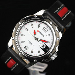 Wholesale Hot CURREN Round Dial Analog Watch PU Leather Strap Data Display For Men white