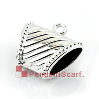 plastic charms - 50PCS Top Popular Jewellery Scarf Pendant Shine Silver Plated Striped Plastic CCB Slide Bails Tube Charm AC0079A