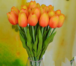 Artificial Tulips 40pcs 30cm PU Real Touch Artificial Simulation Tulip Flower Wedding Bridal Bouquets Decorative Flowers