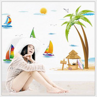 Wholesale Mediterranean beach wall sticker summer sand beach sailing boat palm tree wall decal natural scenery wall paper cm