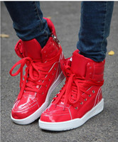 Lace-Up Men Spring and Fall Hot , trendy men's shoes , the Korean version of the high-top casual shoes , red men's shoes ,
