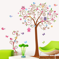 Wholesale Cartoon Animal Owl Squirrel Bird Flower Tree Wall Stickers Decor Art Mural Decal Nursery Bedroom Stickers set