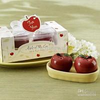 bath salt favors - Ceramic Adorable Apple cruet Salt Pepper Shakers Wedding Favor Set of for Wedding Party Gifts Favors Supplies