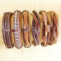 Wholesale latest charming ethnic tribal genuine adjustable leather bracelets for Unisex D120