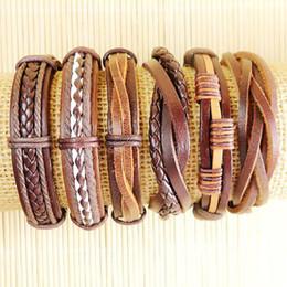 Wholesale Retro Leather Men Wrap Punk Bracelet Bangles Wristband Belt Handmade Vintage Bracelet Genuine Cowhide Leather Bracelet D120