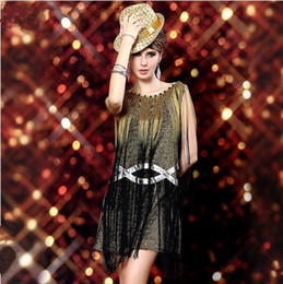 Wholesale 2013 New Evening Woman DS Costumes Tassel Dance Clothing Singer Modern Stage Performance Performance Wear Prom Dresses
