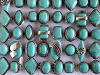 South American american tribes - Large tibetan tribe Silver Tone Turquoise Gemstone Rings Mixed Sizes R105 New Jewelry
