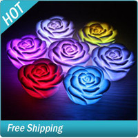 Wholesale Floating Rose Flower LED Candle light Changing Colors