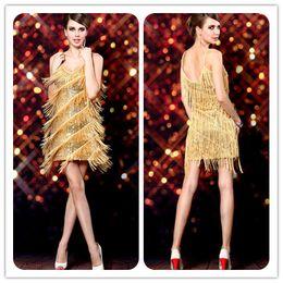 Wholesale New Tassel Stage Clothing Latin Dance Clothing Spaghetti straps Sexy Stage Clothing Prom Dresses BlingBling