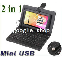 Wholesale Protective Leather Case with mini USB Keyboard bracket for quot Tablet PC ainol NOVO Via inch tablet MID