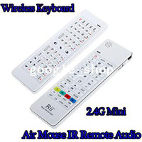 Wholesale Air Mouse IR Remote Audio Rii Wireless Keyboard G Mini For PC Android TV Box HTPC IPTV XBOX360 PS3