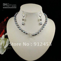 Wholesale Stunning AA MM Gray Color Over Shaper Genuine Freshwater Pearl Necklace S925 Hook Earring J