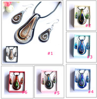 Wholesale Mix color lampwork glass necklace earrings sets murano glass jewelry set box packing pendant size mm