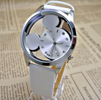 Wholesale Mickey Sided glass Watches Delicate Transparent Watches TOP Quality