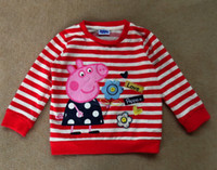 Wholesale Peppa Pig girl girls long sleeve red kids Embroidery and print terry fabric sweatshirt t shirt top coat jumper peppa pig tops