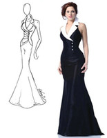 Wholesale Black and White Halter Pageant Evening Dresses Taffeta Crystal Mermaid Ruched Full Length