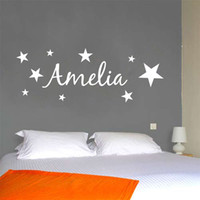 Wholesale PERSONALISED NAME WITH STARS WALL ART DECAL STICKER NEW VINYL DECORATION BEDROOM P410