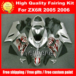 Free 7 gifts ABS race fairing kit for Kawasaki Ninja ZX6R 2005 2006 ZX 6R 05 06 ZX 6R G2n fairings new red flames silver motorcycle bodywork