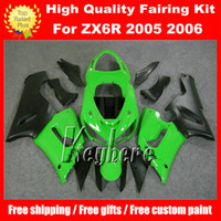 Wholesale Free gifts ABS race fairing kit for Kawasaki Ninja ZX R ZX6R ZX R G3m fairings high grade green black motorcycle parts