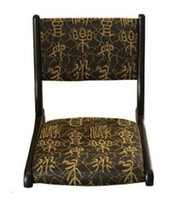 Wholesale Thanksgiving Meditaion Online Chair Traditional Furniture Black Finish Chinese Letter Pattern Floor Folding Meditation Online Chair