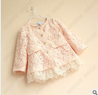 Wholesale 2013 Autumn Girls Hot Sale Lace Coat Pink White Kids Long Sleeve Single breasted Flower Jacket