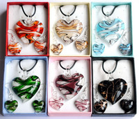 Wholesale Exquisited heart shape gold dust lampwork glass murano glass jewelry sets necklace earrings box packing W14546Y66