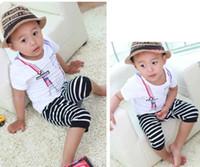 stripe pants - Summer Stripe Casual Shorts Child Suit Kids Sets Harem Pants Children Set Kids Suit Outfits Two Piece Fashion White Short Sleeve T Shirt