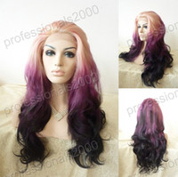Wholesale 18 quot quot Synthetic Wigs Bodywave Synthetic Heat Friendly Swiss Lace Front Wigs Cheap Price and Queen Hair Ombre Color