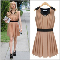 Wholesale Summer Chiffon Graceful White Black Brown Ladies Women Pleated Dress V Neck Sleeveless Western New