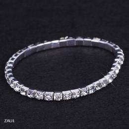 Descuento cristales checo pulseras Envío libre 1 joyería Fila Rhinestone cristalino de la pulsera del estiramiento elástico Checa novia de la boda del brazalete para el partido de la muchacha de baile Muñequera ZAU1 * 5