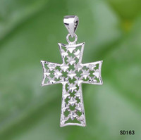 Wholesale Hollow Cross CZ Zircon Sterling Silver Charm Pendant SD163 Fit Women Necklace Dangle Costume Jewelry Craft DIY