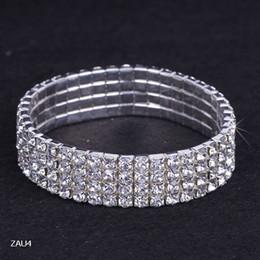 2017 cristales checo pulseras Envío gratuito 4 Fila puro cadena Royal Crystal Rhinestone del estiramiento elástico mano de la pulsera de la joyería nupcial de la boda del brazalete Checa Muñequera ZAU4 barato cristales checo pulseras