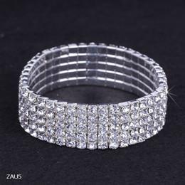 Descuento cristales checo pulseras Envío gratis 5 Fila puro cadena Royal Crystal Rhinestone del estiramiento elástico mano de la pulsera de la joyería nupcial de la boda del brazalete Checa Muñequera ZAU5
