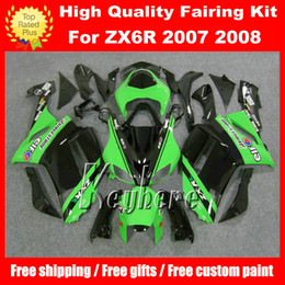 Free 7 gifts ABS race fairing kit for Kawasaki Ninja ZX6R 2007 2008 ZX 6R 07 08 ZX 6R G2m fairings hot sale green black motorcycle bodywork
