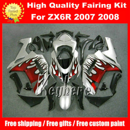 Free 7 gifts ABS race fairing kit for Kawasaki Ninja ZX 6R 2007 2008 ZX6R 07 08 ZX-6R G2n fairings hot red flames silver motorcycle bodywork