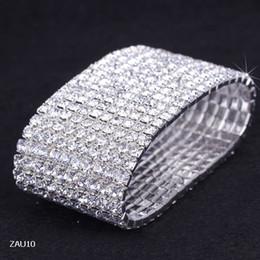 Descuento cristales checo pulseras Envío gratis 10 cristales de la fila de la joyería del Rhinestone del estiramiento elástico pulsera brazalete de novia de la boda Checa para el partido de la muchacha de baile Muñequera ZAU10 * 5