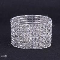 Libre 10 Fila puro cadena Royal Crystal Rhinestone del estiramiento elástico mano de la pulsera de la joyería nupcial de la boda del brazalete Checa Muñequera ZAU10