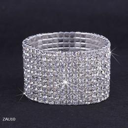 Cristales checo pulseras en Línea-Libre 10 Fila puro cadena Royal Crystal Rhinestone del estiramiento elástico mano de la pulsera de la joyería nupcial de la boda del brazalete Checa Muñequera ZAU10