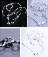 Chains Gift Sterling Silver Free Shipping Lots 30 inch Solid 925 Sterling Silver Jewelry Necklace Link Balls Chain With Lobster Clasp Fit Charm Pendants SH6-30inch*5