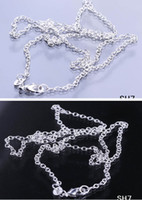 Wholesale Sterling Silver Jewelry Necklace Link O Style Curb Chain With Lobster Clasp Fit Charm Pendant SH7 inch