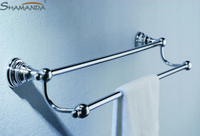 chrome bathroom accessories towel rails - fashion design zinc brass chrome finishing double towel bar towel rail towel rack bathroom accessories