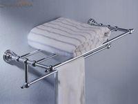 brass+zinc bar shelves designs - Fashion design zinc brass chrome finishing Double deck Towel Shelve towel bar towel rack towel holder shelf