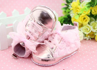 Wholesale Children Shoes Baby First Walker Shoe Color roses baby shoes Lace toddler shoes Floral PINK Wedding shoe Toddler sizes cm cm cm