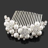 Wholesale pearl hair comb wedding hair Jewelry bride accessories FS hairwear bridal Jewelry wedding Jewelry Rihood