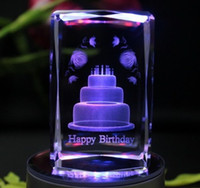 Wholesale Free Shiping New Arrival Novelty D Birthday Cake Luminous Rotating Music Crystal Box Gift