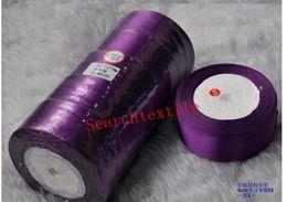 Wholesale dark purple gift ribbon Satin Ribbons wedding craft sewing decorations