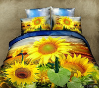 Wholesale shining sunflowers foral d printed duvet quilt cover sheet pillowcases set pc cotton bedding set queen size bed in a bag
