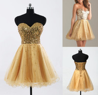 Wholesale In Stock Cheap Homecoming Dresses Gold Sequin Sweetheart A Line Short Tulle Cocktail Party Prom Gowns New Real Image Hot Sale